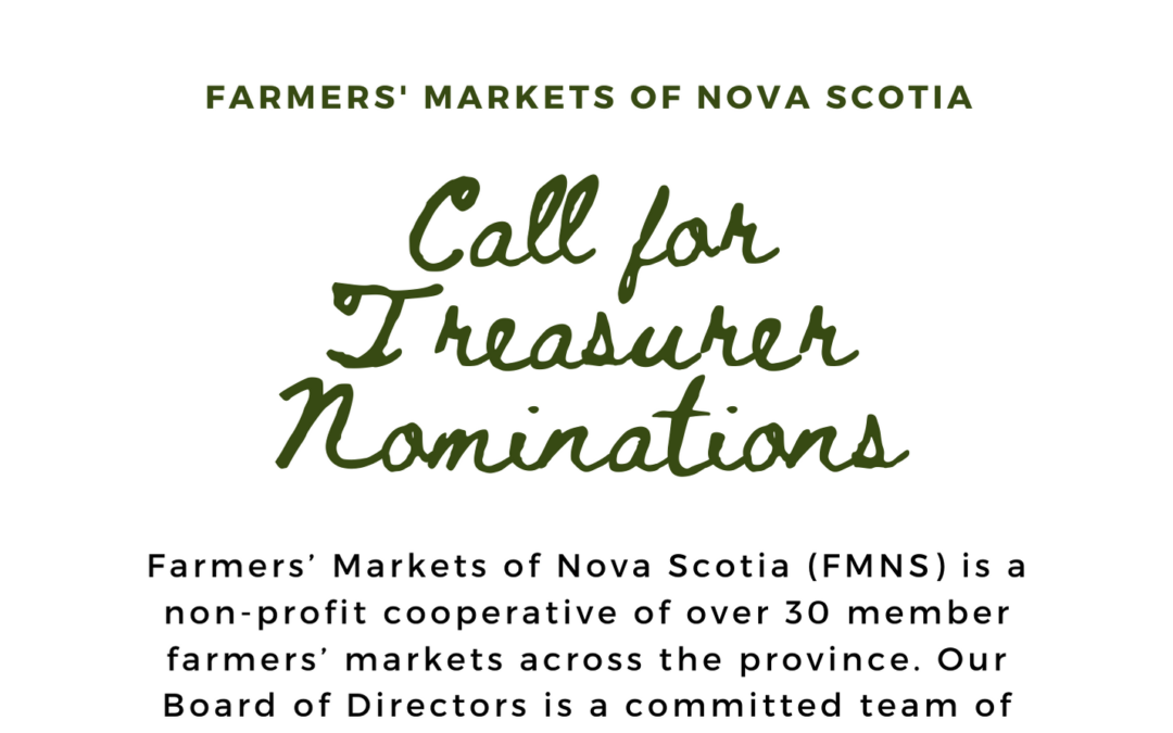 Call for Treasurer Nominations – June 25, 2020